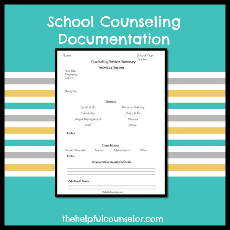 School Counseling Documentation Form ~ The Helpful Counselor