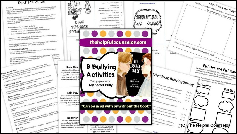 My Secret Bully -Lesson Plan Bullying Activities - The Helpful Counselor
