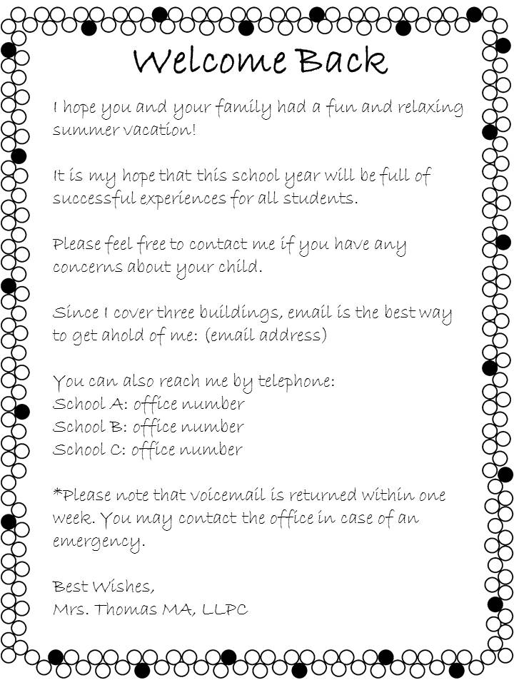 Open House Welcome Back Letter From The School Counselor ~ The