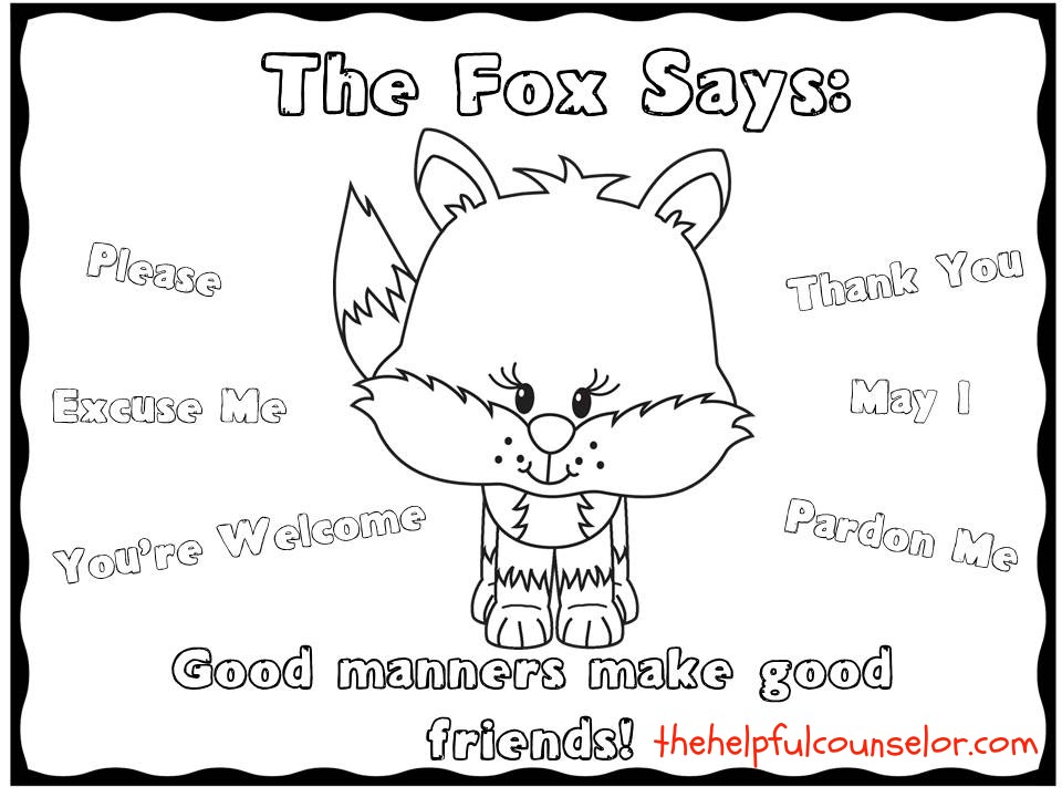 SocialSkills The fox says coloring page freebie