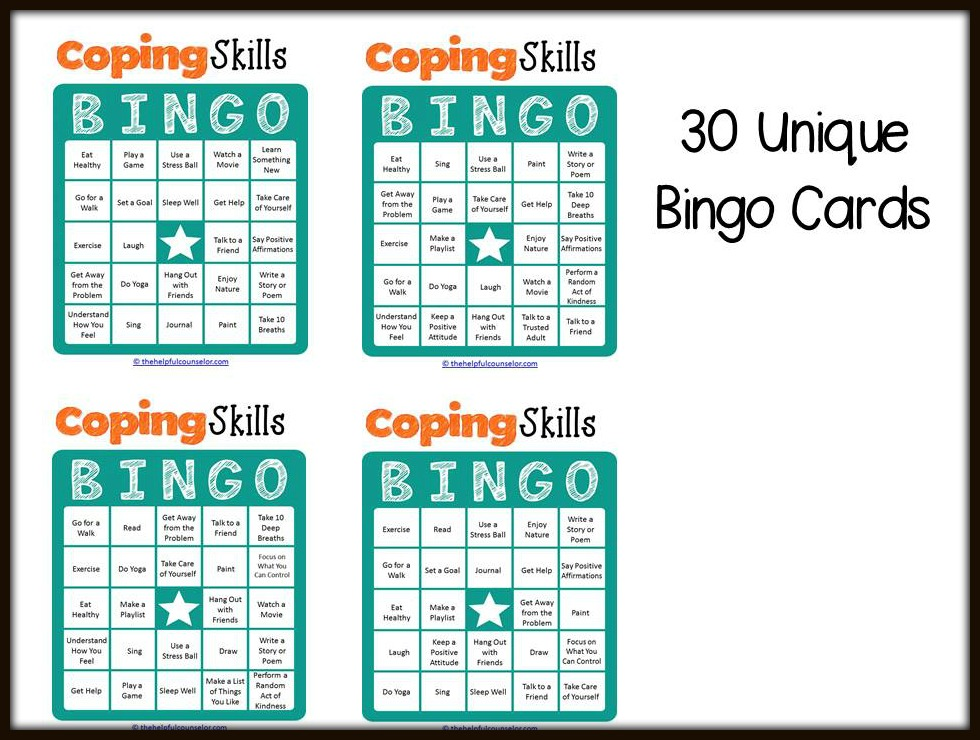 Coping Skills Bingo Cards Preview