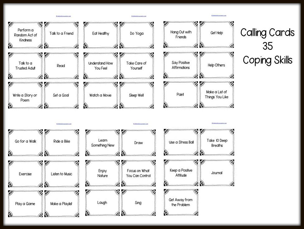 Coping Skills Calling Cards Preview