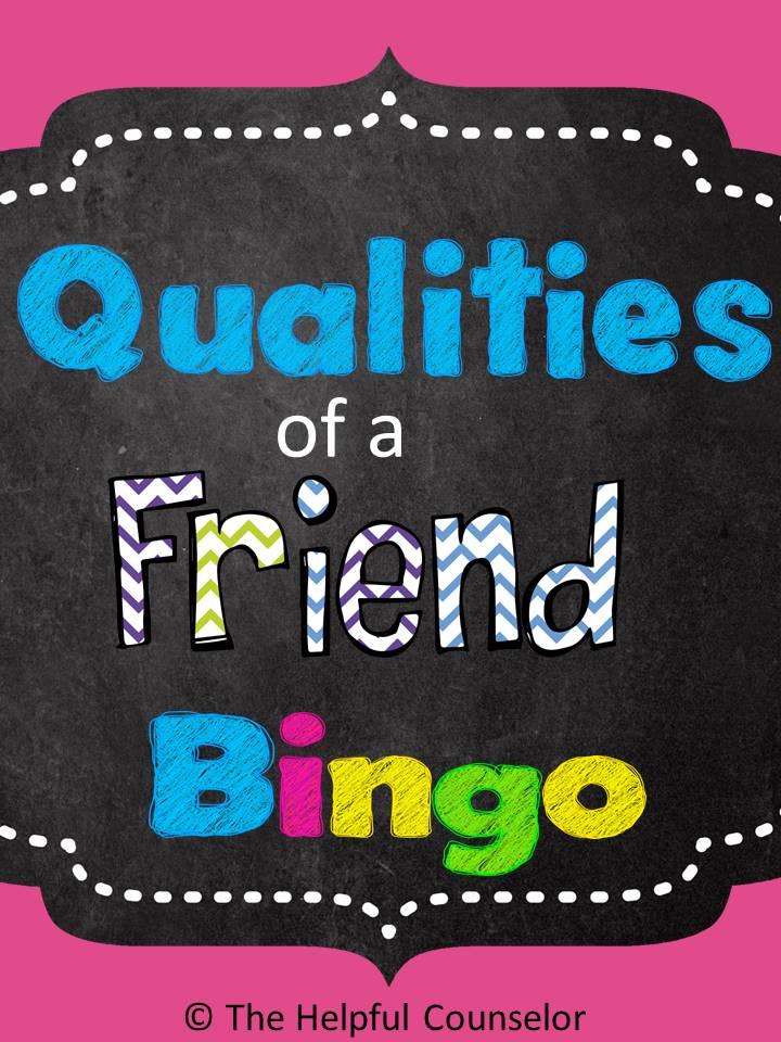 Friendship Qualities Bingo Game Elementary Counseling