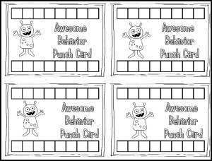 Awesome Behavior Management Punch Cards