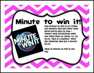 Minute to Win It Behavior Game