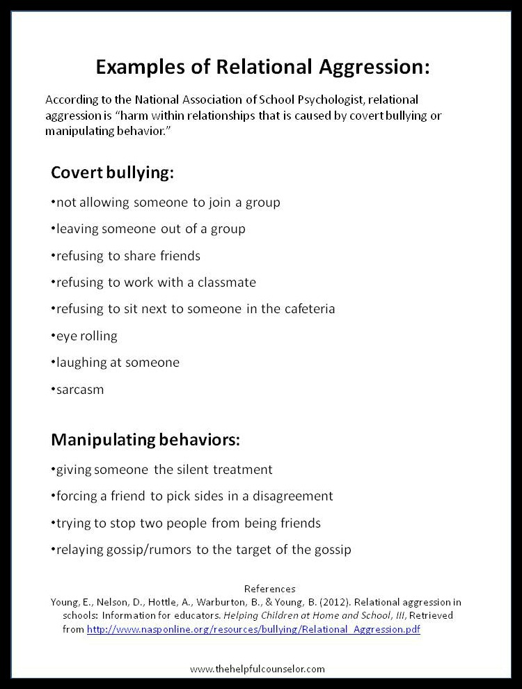 Examples of Relational Aggression Elementary Counslor