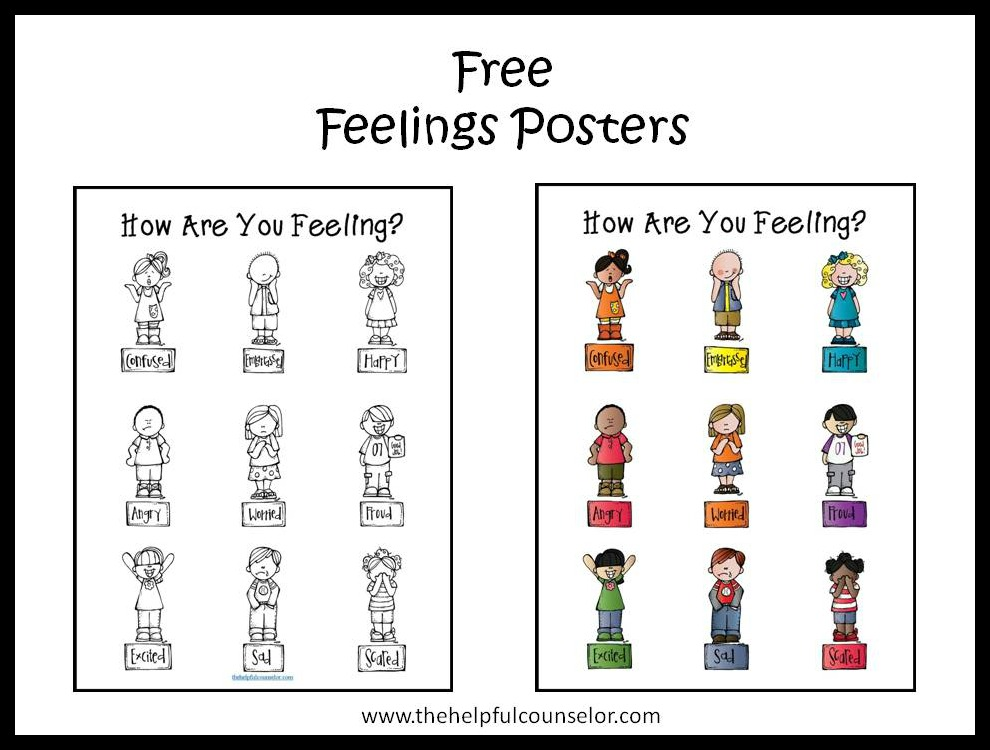 Free Feelings Poster and Coloring Page •